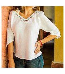 cotton blouse, 'el salvador roses' (el salvador)