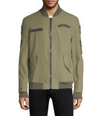 as65 men's patchwork cotton bomber jacket - dark green - size m