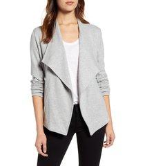 women's caslon drape collar knit blazer, size x-small - grey