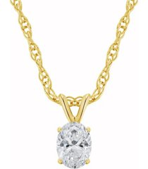 certified oval diamond solitaire pendant necklace (1/4 ct. t.w.) in 14k white gold or yellow gold