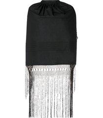 black backless fringe top