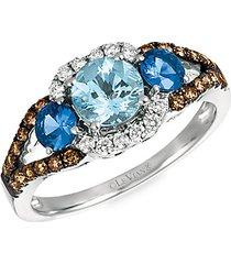 chocolatier® 14k vanilla gold®, sea blue aquamarine®, blueberry sapphire™ chocolate diamonds® & vanilla diamonds® ring