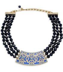 crystal & glass beaded pendant bib necklace