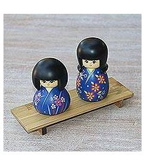 mahogany wood figurines, 'kimono sisters in blue' (pair) (indonesia)