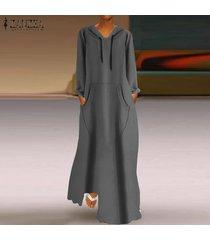 zanzea de mujeres longitud de manga larga sudaderas con capucha vestido maxi largo del vestido de la camiseta completa -gris
