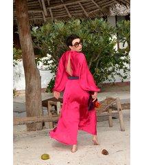 amarantowa suknia boho by momo