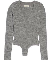 women's madewell wrap bodysuit, size x-large - grey