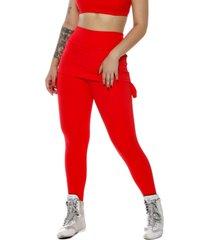calça legging miss blessed com saia sobreposta vermelho