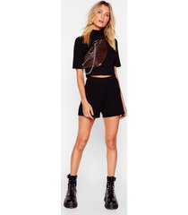 womens keep knit quick high neck crop top and shorts set - black