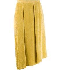 isabel marant freja flowing velvet skirt - yellow