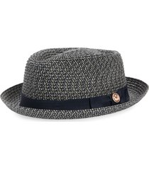 goorin bros. low country straw porkpie hat, size large in navy at nordstrom