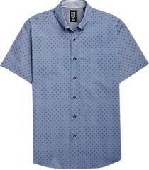 con. struct indigo dotted squares short sleeve sport shirt