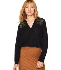 blusa henley con efecto arrugado negro esprit