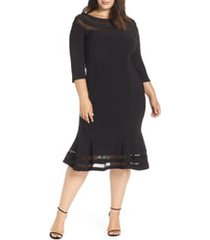 plus size women's xscape flounce midi dress, size 16w - black