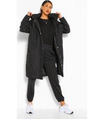 lange gewatteerde jas met capuchon, black