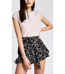 river island womens black printed tie belted frill shorts