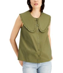 inc international concepts ruffle-collar top, created for macy's