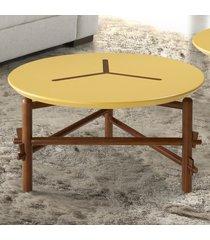 mesa de centro twist 761 cacau/amarelo - maxima