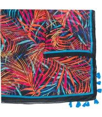 twin-set foliage print tassel detail scarf - orange
