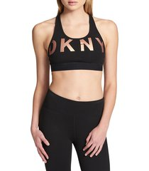 dkny sport women's low impact sports bra - black rose gold - size xs