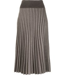 agnona ribbed-knit midi skirt - grey