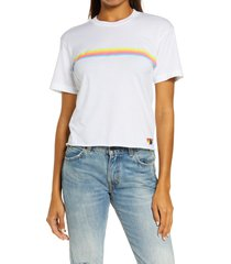 aviator nation rainbow tee, size large in white/neon rainbow at nordstrom