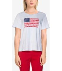 alfred dunner women's missy americana centre flag top