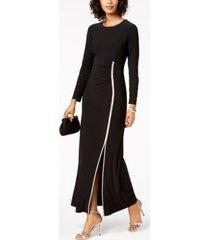 msk rhinestone-trim slit gown