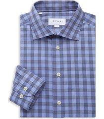 eton men's contemporary-fit checked dress shirt - blue - size 15.5
