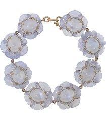 carved chalcedony flower bracelet