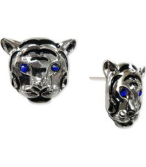 thalia sodi silver-tone pave tiger head stud earrings, created for macy's