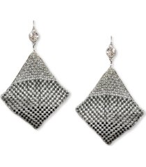 thalia sodi silver-tone crystal mesh kite statement earrings, created for macy's
