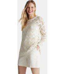 sweater de punto calado en 100% algodón blanco esprit