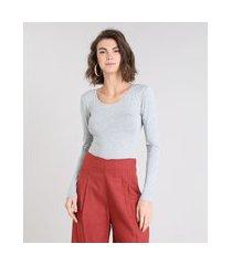 blusa feminina básica manga longa decote redondo cinza mescla