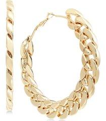 thalia sodi gold-tone chain link large hoop earrings, created for macy's
