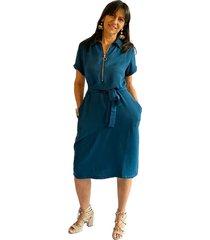 vestido corto camisero chalis azul plica