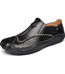scarpe da uomo basse in pelle con cuciture anticollisione