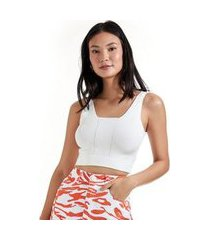 top cropped canelado alças largas off white - g