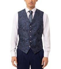 tallia men's slim-fit navy blue paisley vest