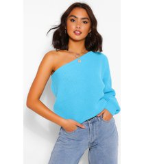 one shoulder sweater, blue