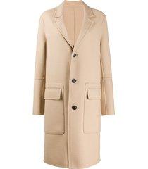 ami paris unstructured buttoned coat - neutrals