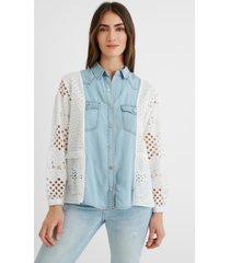 denim-crochet mix shirt - white - s