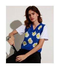 colete de tricô estampado ovos fritos decote v mindset azul royal