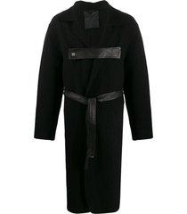 10sei0otto front strap midi coat - black