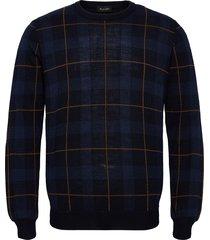 5469 - iq stickad tröja m. rund krage blå sand
