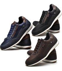 kit 03 pares de sapatênis sapato casual juilli 1100l azul, marrom e preto
