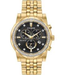 citizen eco-drive men's chronograph corso gold-tone stainless steel bracelet watch 42mm