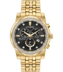 citizen eco-drive men's chronograph corso gold-tone stainless steel bracelet watch 42mm