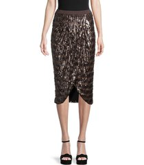 le superbe women's take it easy sequin wrap skirt - brown - size 4