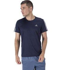 camiseta adidas run 3s tee - masculina - azul escuro